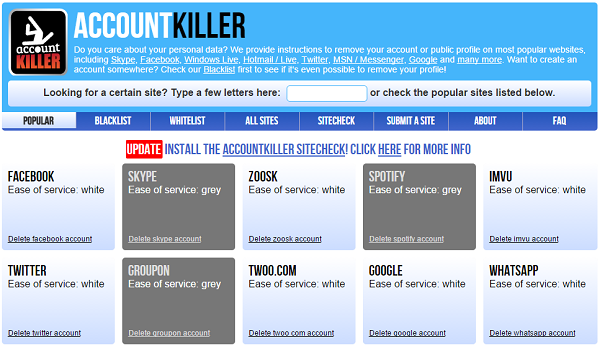 AccountKiller.com guides you on how to delete your online accounts from popular websites.