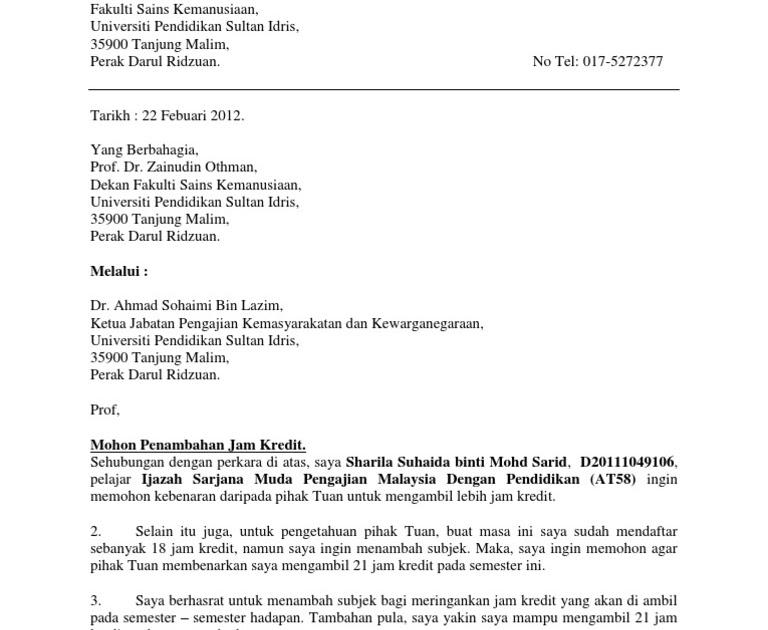 Surat Rasmi Permohonan Melalui Ketua Jabatan - Surat Rasmi V