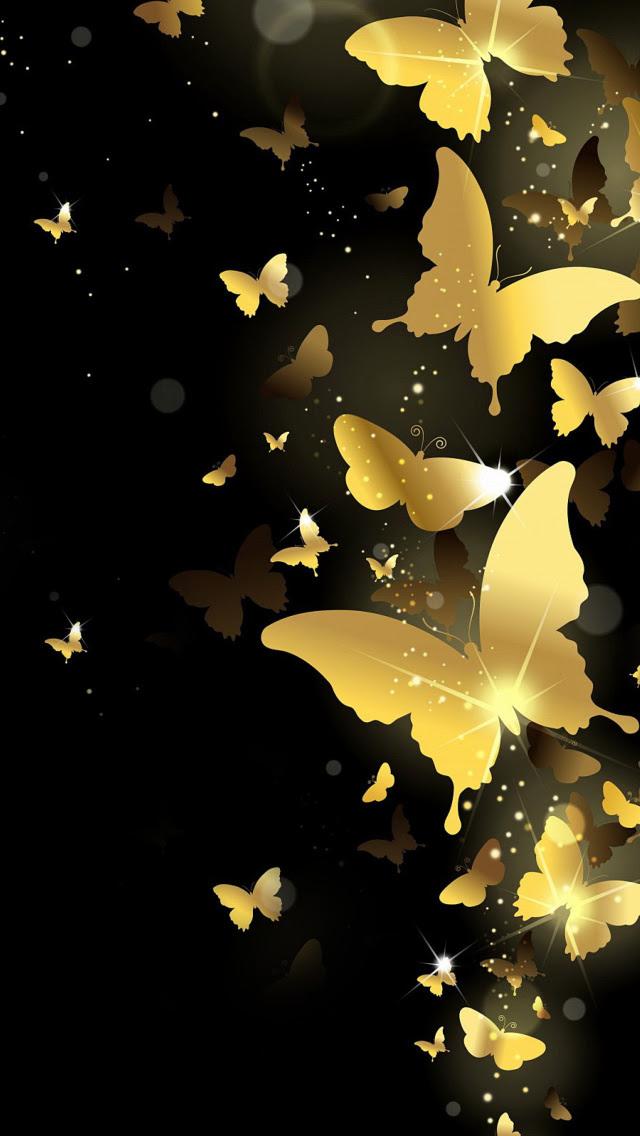 Golden Butterflies Wallpaper for iPhone 5