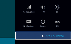 windows 8 settings panel