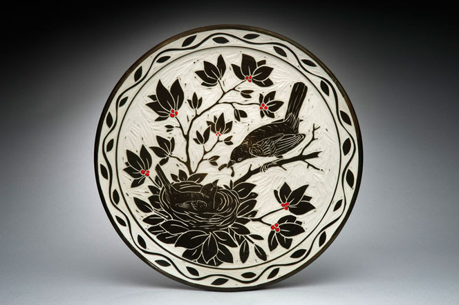 Bird and Nest Platter(other bird scenes available on request); porcelain and red underglaze, 3x16x16 in. $345.