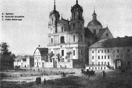 Grodno, Báthory Square with the Jesuit church, convent and pharmacy
