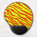 Cherry Red And Neon Yellow Zebra Striped Gel Mouse Pad