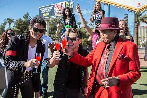 Thiago Matheus com Mr. Joseph Jackson e MJ The Legend (Foto: Fábio Nunes)