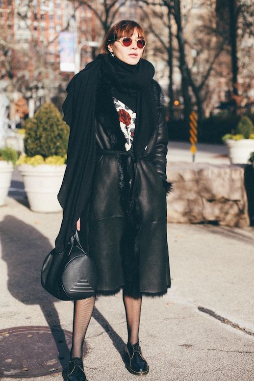 Le Fashion Blog Circle Sunglasses Black Shearling Long Coat Floral Dress Tights Black Dr Martens Via Natalie Off Duty