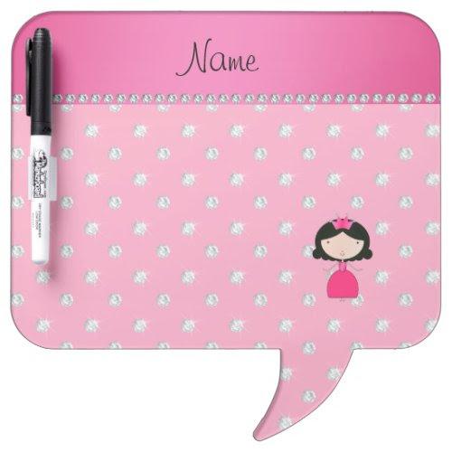 Personalized name princess pink diamonds Dry-Erase whiteboard
