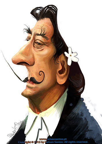 salvador-dali-by-nelson-santos by caricaturas