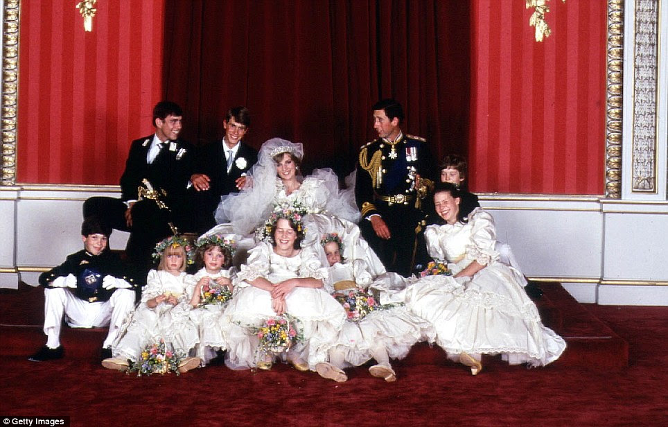 The 1981 wedding party. From back, Prince Andrew, Prince Edward, Diana and Charles, Edward van Cutsem; front: Lord Nicholas Windsor, Clementine Hambro, Catherine Cameron, India Hicks, Sarah-Jane Gaselee and Lady Sarah Armstrong-Jones