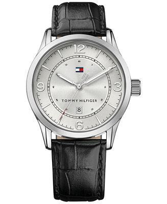 Tommy Hilfiger Men's Casual Sport Black Leather Strap