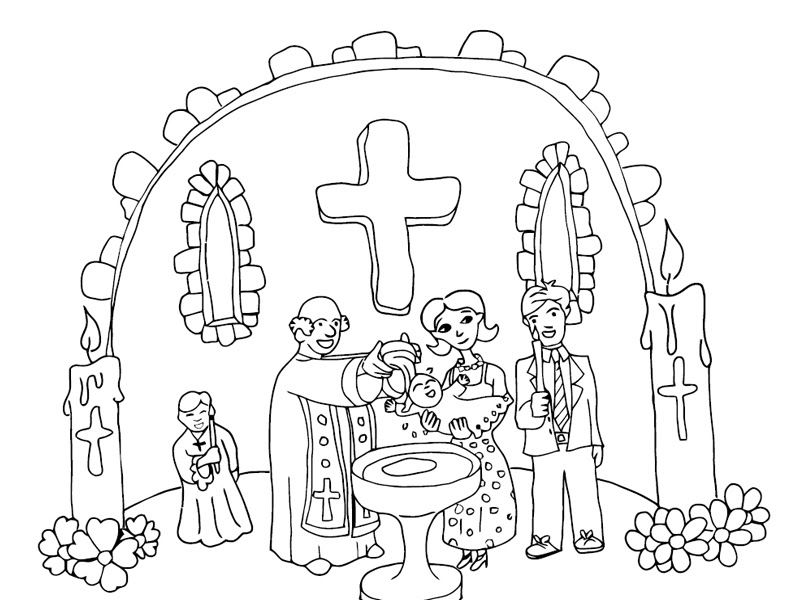 Coloriage Bapteme Religieux à Imprimer