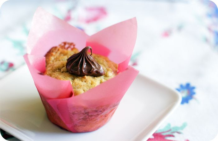 nutella-filled banana muffins : recipe from @bakeat350