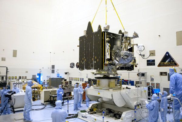 NASA's MAVEN spacecraft is placed inside the Payload Hazardous Servicing Facility at the Kennedy Space Center in Florida to begin launch preparations...on August 3, 2013.