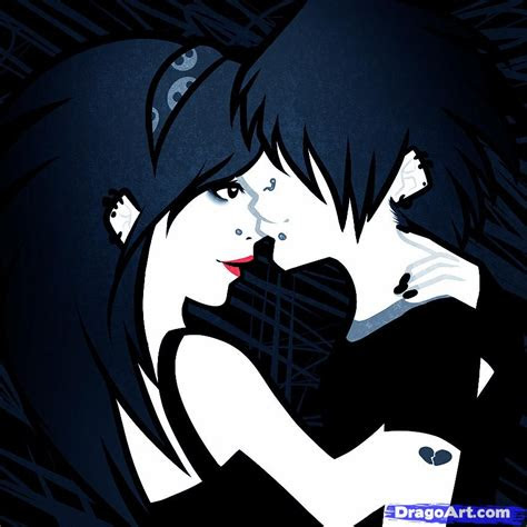 draw  emo couple emo couple step  step anime