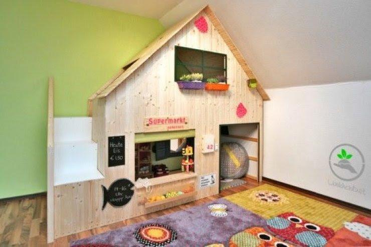 Ikea Kura bed hacked into a playhouse