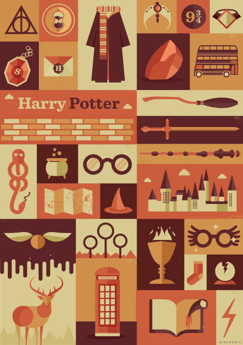 Harry Potter Items Poster | Available in Redbubble and Society6  I felt really nostalgic doing this poster, but it was a lot of fun! If you want to see my previous posters like this, check here: Supernatural | WTNV | Sherlock