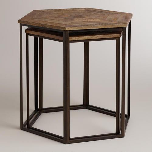 Tables - Iliana Nesting Tables, Set of 2   World Market - hexagonal nesting tables, parquet top nesting tables, wood and iron nesting tables, hexagonal industrial nesting tables,