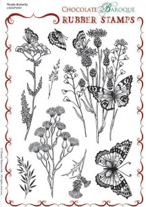 Thistle Butterfly Rubber stamp sheet - A5