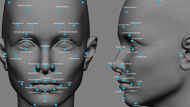Facial recognition system data points. Picture: FBI