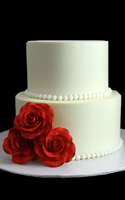 Swiss Dots & Trio of Pink Roses Wedding Cake   Butterfly