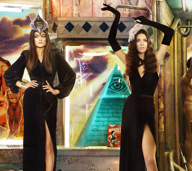 Kylie and Kendall Jenner in the Kardashian Christmas card