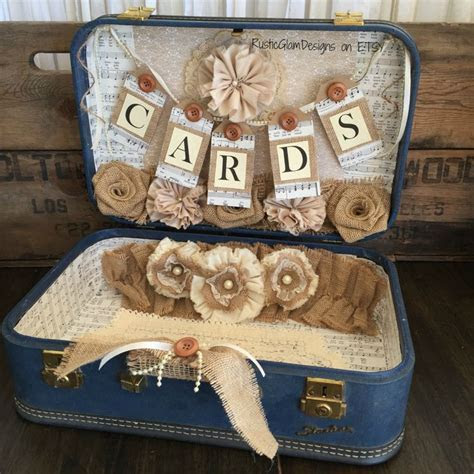 Vintage Suitcase Wedding Card Holder Rustic Wedding gift