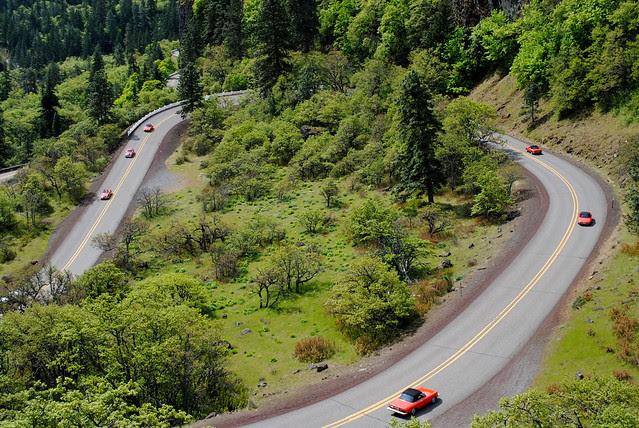 an Alfa Romeo club driving down the Historic Columbia River Hwy