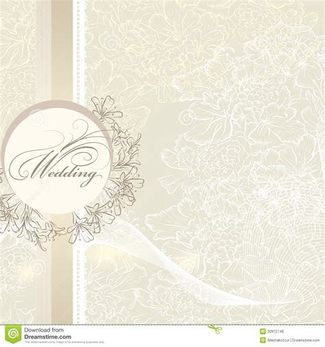 Elegant Wedding Invitation Card With Banner And Flowers