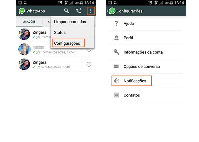 Acesse as configurações do WhatsApp pelo Android (Foto: Reprodução/Barbara Mannara)