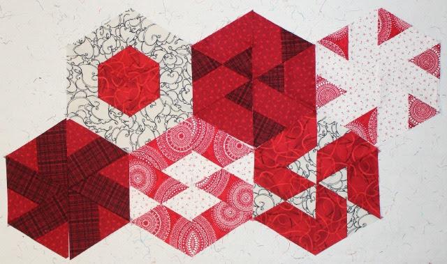Strip-pieced hexagon blocks