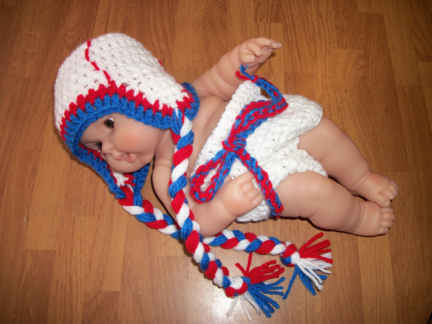 3-6 Months Baseball Beanie and Diaper Cover Set - Photo Prop- Softball