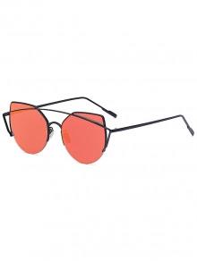 Black Crossbar Cat Eye Mirrored Sunglasses