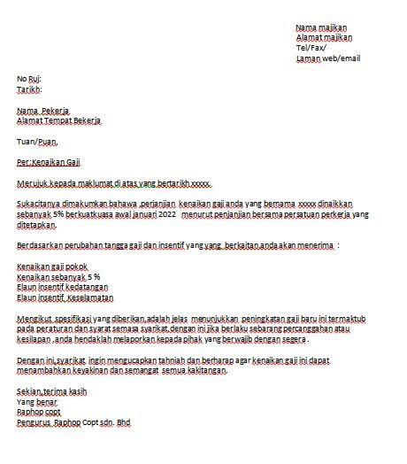 contoh surat naik gaji contoh resume