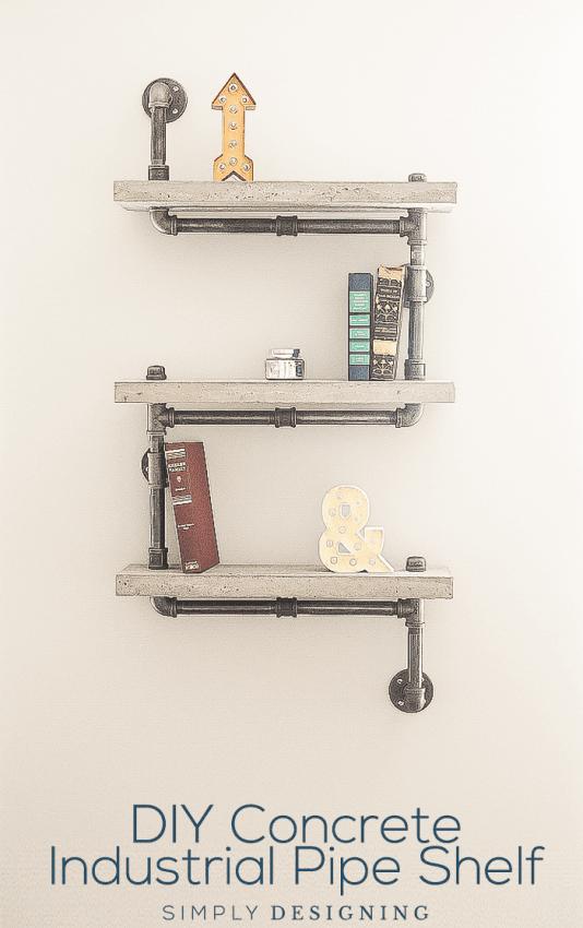 DIY Concrete Industrial Pipe Shelf tutorial