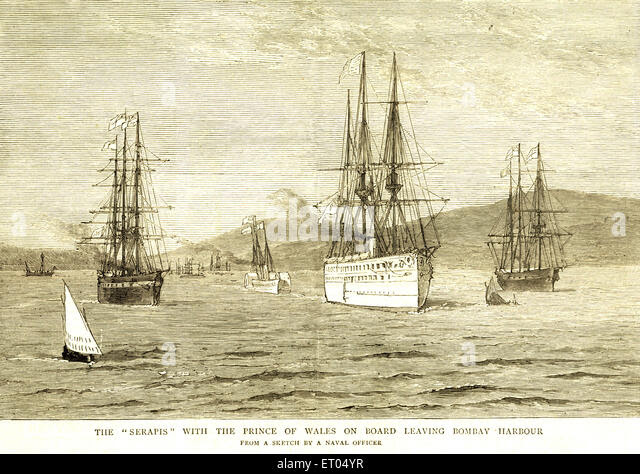 Image result for 1876-BOMBAY-HMS SERAPIS LEAVING BOMBAY HARBOUR WITH PRINCE OF WALES[2] PRINCE AT GOA