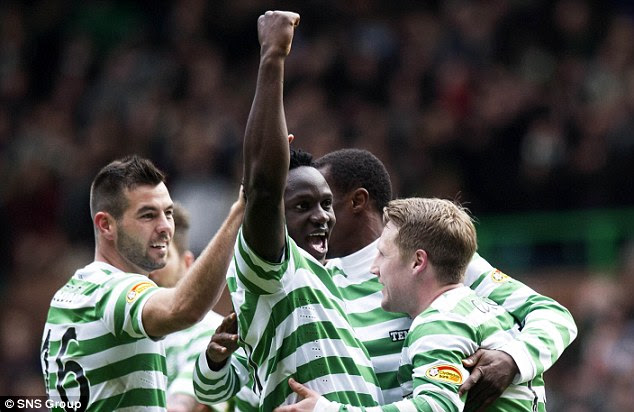 Wanted man: Celtic's Victor Wanywama (centre) is a target for several Premier League clubs