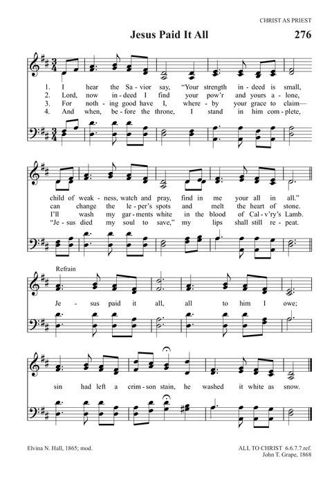 Jesus Paid It All Hymn Lyrics