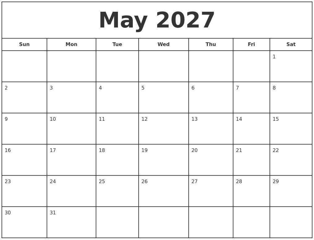 may 2027 print free calendar