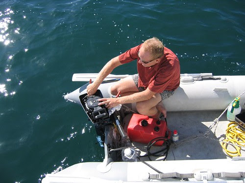 the rest of the day after recovering the outboard
