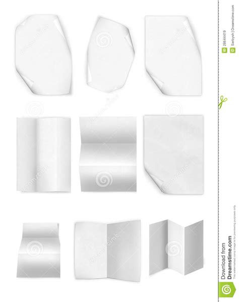Collection Of Various Leaflet Blank White Paper On White