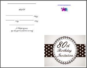 80th Birthday Party Invitation Templates - Wedding Invitation Sample