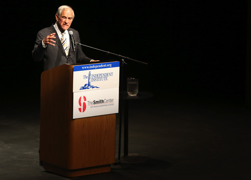 Ron Paul, former 12-term congressman and three-time presidential candidate, speaks in the university theater at California State University, East Bay in Hayward, Calif., Wednesday, April 9, 2014. (Anda Chu/Bay Area News Group)