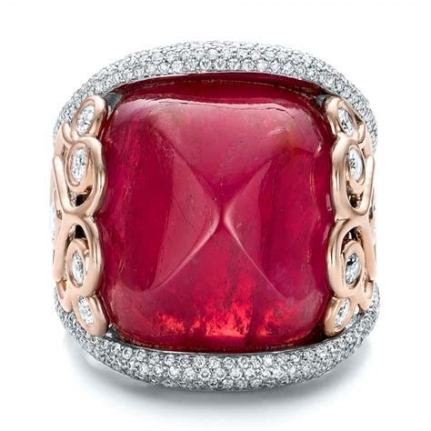 Custom Spinel and Pave Diamond Anniversary Ring #102081