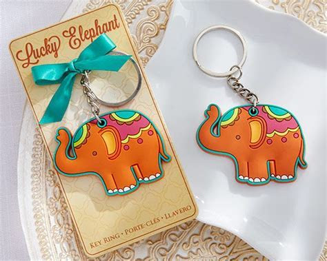 """Lucky Elephant"" Elephant Key Ring   Party favors, Bride"