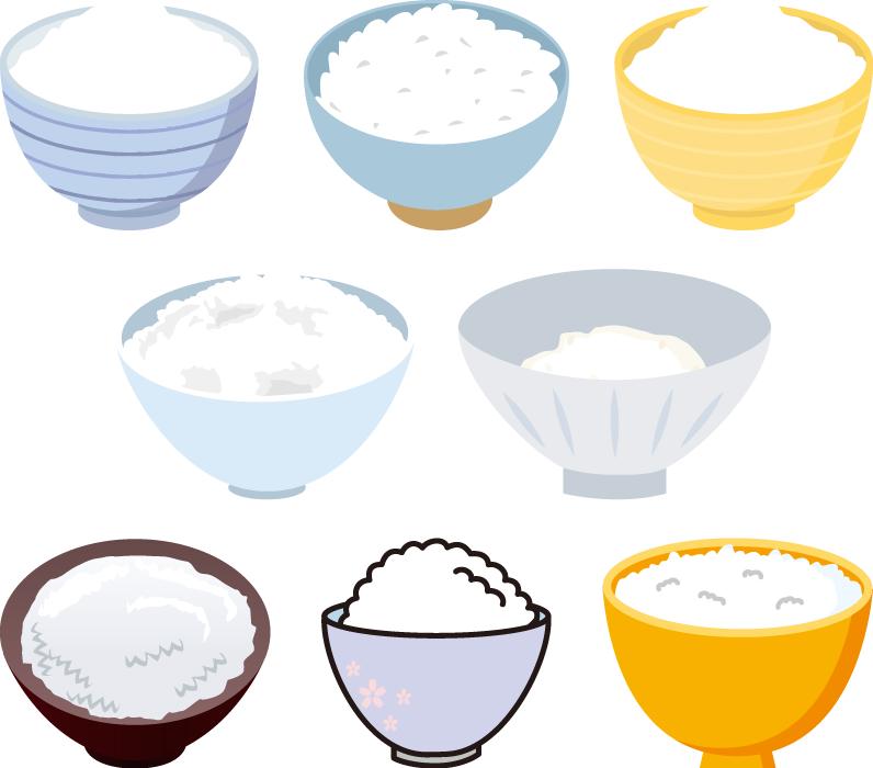 フリーイラスト 8種類のお茶碗の中のご飯のセットでアハ体験 Gahag