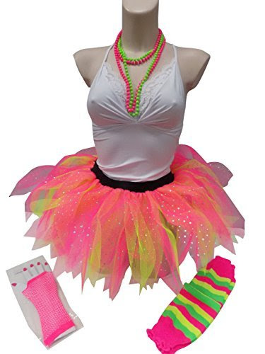 Neon Five Layer Ruffle Diamante Tutu Skirt Set