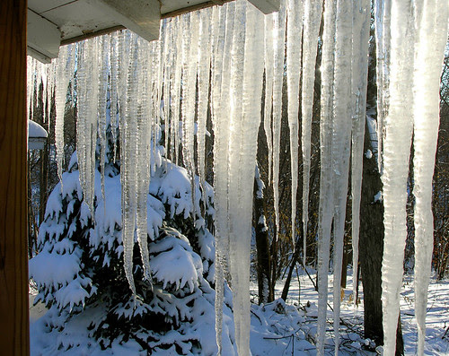 Icicles build on my back porch roof