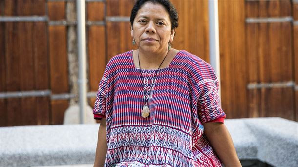 Award-winning Guatemalan indigenous activist Aura Lolita Chávez, leader of the K'iche's Council of Peoples, has been forced to seek refuge in Spain because of death threats and attacks, due to her struggle against the activities of companies that affect the environment and indigenous territories in her country. Credit: Courtesy of ETB
