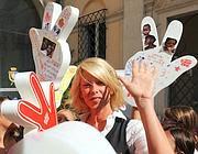 La manifestazione a Roma con Alessia Maruzzi (Ansa)