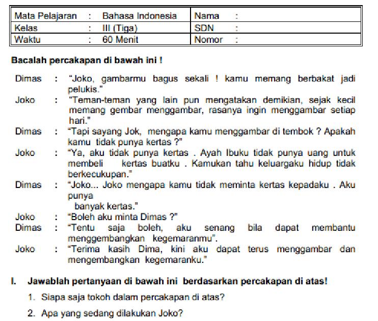 Download Soal Uas B Indonesia Kelas 4 Dan Kunci Jawaban Peranti Guru