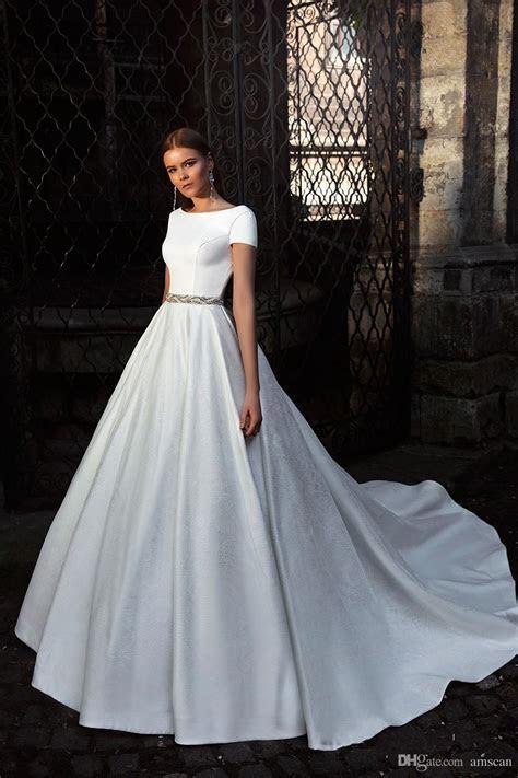 Discount 2018 A Line Court Train Backless Wedding Dress